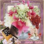 Букет цветов и шоколад