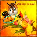 Открытка с цветами и совой
