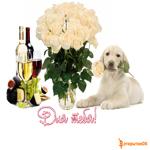 Собачка и цветы