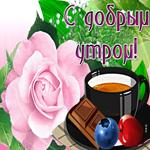 Открытка доброе утро с чайной розой