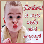 Открытка поцелуйчик и привет