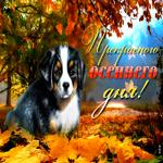 Открытка прекрасного осеннего дня с собачкой