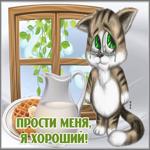 Открытка прости с котиком