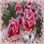 Открытка с розами счастья тебе