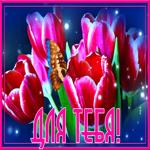 Открытка с тюльпанами для тебя