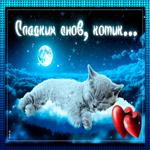 Открытка сладких снов, котик