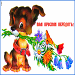 Открытка собачка с цветами