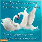 Открытка с пожеланиями с лебедями