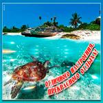 Сияющая открытка с отпуском
