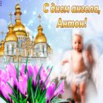 Открытка с днем ангела Антон с ангелочком
