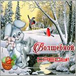 Зимняя открытка волшебной среды
