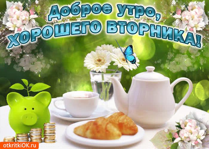 Ара, анимационные открытки с добрым утром прекрасного дня удачного вторника