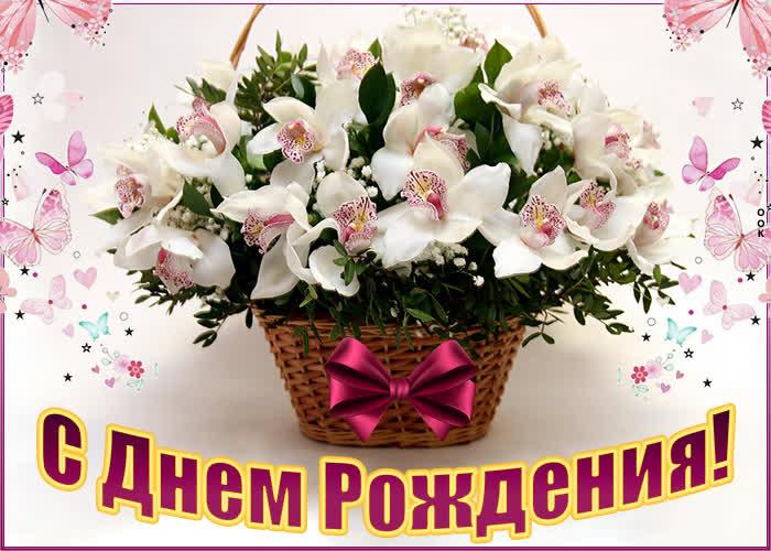 Картинка картинка с днем рождения женщине с корзиной цветов