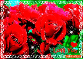 Открытка букет красных роз с любовью