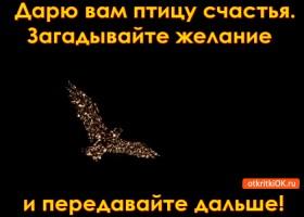 Открытка дарю вам птицу счастья