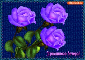 Открытка дарю прекрасные розы и желаю приятного вечера!