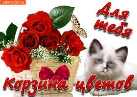 Картинка для тебя красивая корзина с розами