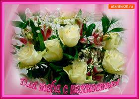 Картинка для тебя с нежностью белый букет роз