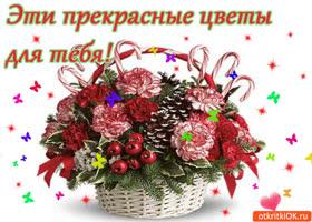 Открытка эти прекрасные  цветы для тебя!