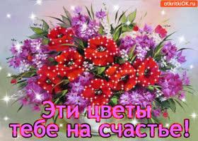 Картинка эти цветы тебе на счастье!