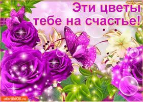 Открытка эти цветы тебе на счастье