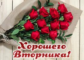 Картинка картинка хорошего вторника с букетом роз