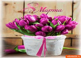 Картинка корзина тюльпанов для любимых мам