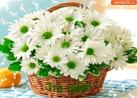 Открытка корзина волшебных цветов для тебя