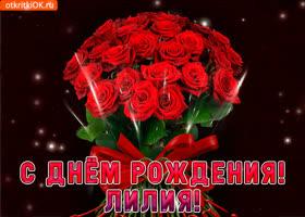Открытка лилия с праздником тебя