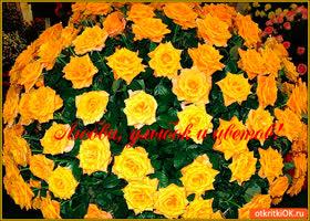 Открытка любви улыбок, и цветов тебе