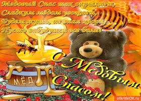 Открытка медовый спас так окрыляет - сладким мёдом угощает!