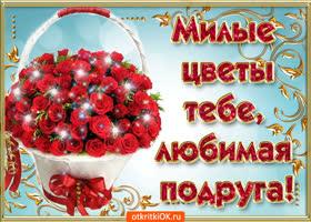 Открытка милые цветы тебе любимая подруга