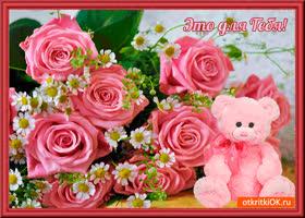 Открытка мишка розовый для тебя