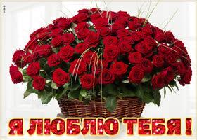 Картинка открытка люблю с корзиной роз