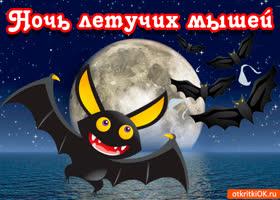 Открытка открытка ночь летучих мышей