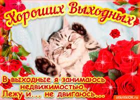 Картинка открытка пожелания хороших выходных