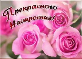 Открытка открытка прекрасного настроения с розами