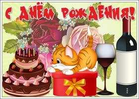 Открытка открытка с днем рождения девушке с котиком