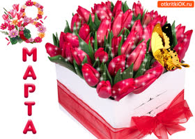 Открытка открытка с тюльпанами 8 марта