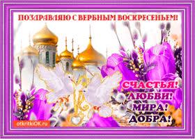 Открытка пожелания с вербным воскресеньем