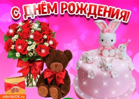 Картинка поздравление с днём рождения девочке