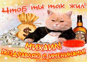Картинка поздравление с именинами михаилу
