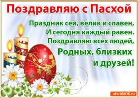 Открытка поздравление с праздником пасхи