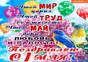 Открытка поздравляю с 1 мая - любви и радости желаю