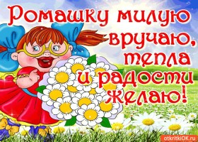 Картинка ромашки милую вручаю, тепла и радости желаю