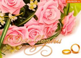 Картинка с днём свадьбы открытка
