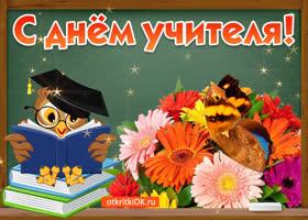 Открытка с днём учителя поздравление