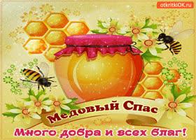 Открытка с медовым спасом - много добра и всех благ