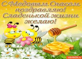 Картинка с медовым спасом поздравляю - сладенькой жизни желаю