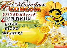 Картинка с медовым спасом поздравляю! сладких дней тебе желаю!